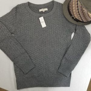 New LOFT ANN TAYLOR Gray SPARKLE SWEATER KNIT M